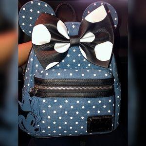 Minnie Mouse Denim Polkadot Backpack (Loungefly)